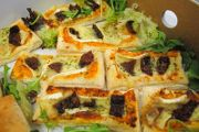 Include delicious Mediterranean Tarts in your office party menu. Daily delivery from Lunch Buffet Catering Plymouth Devon Uk Phone 01752 651331